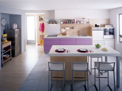 conseil deco sol cuisine americaine salon. Black Bedroom Furniture Sets. Home Design Ideas