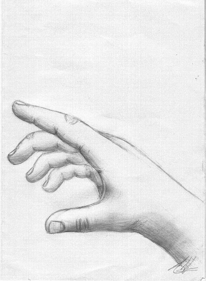 Une main - Main dessin crayon ...
